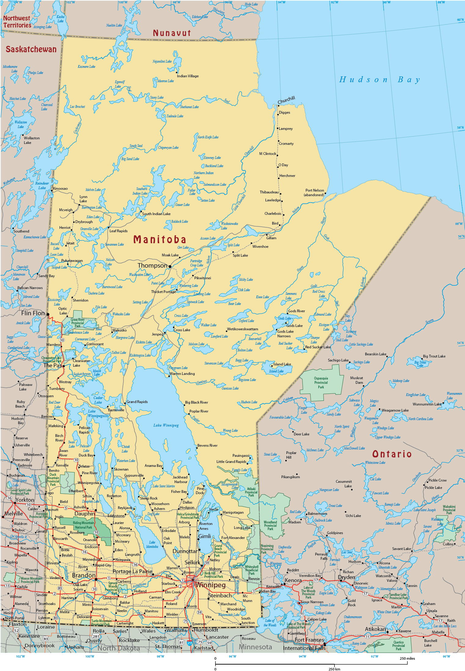 Map For Manitoba Canada Map of Manitoba   Canada