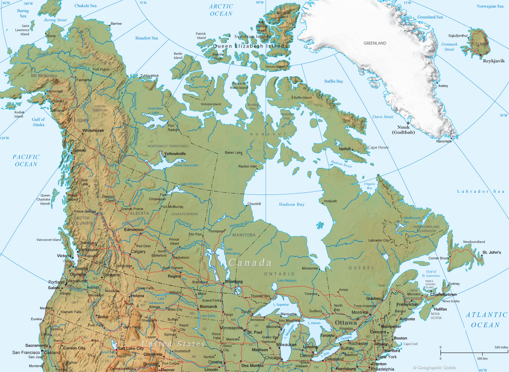 Canada Physical Map And Flag North America - Canada map in world map