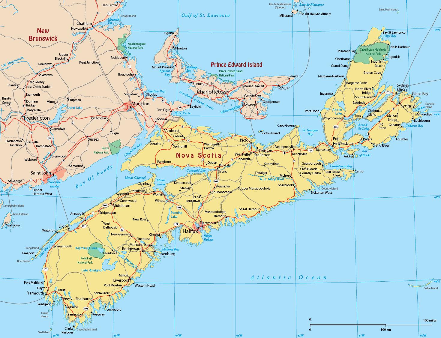 Nova Scotia Map Of Canada Map of Nova Scotia   Canadá