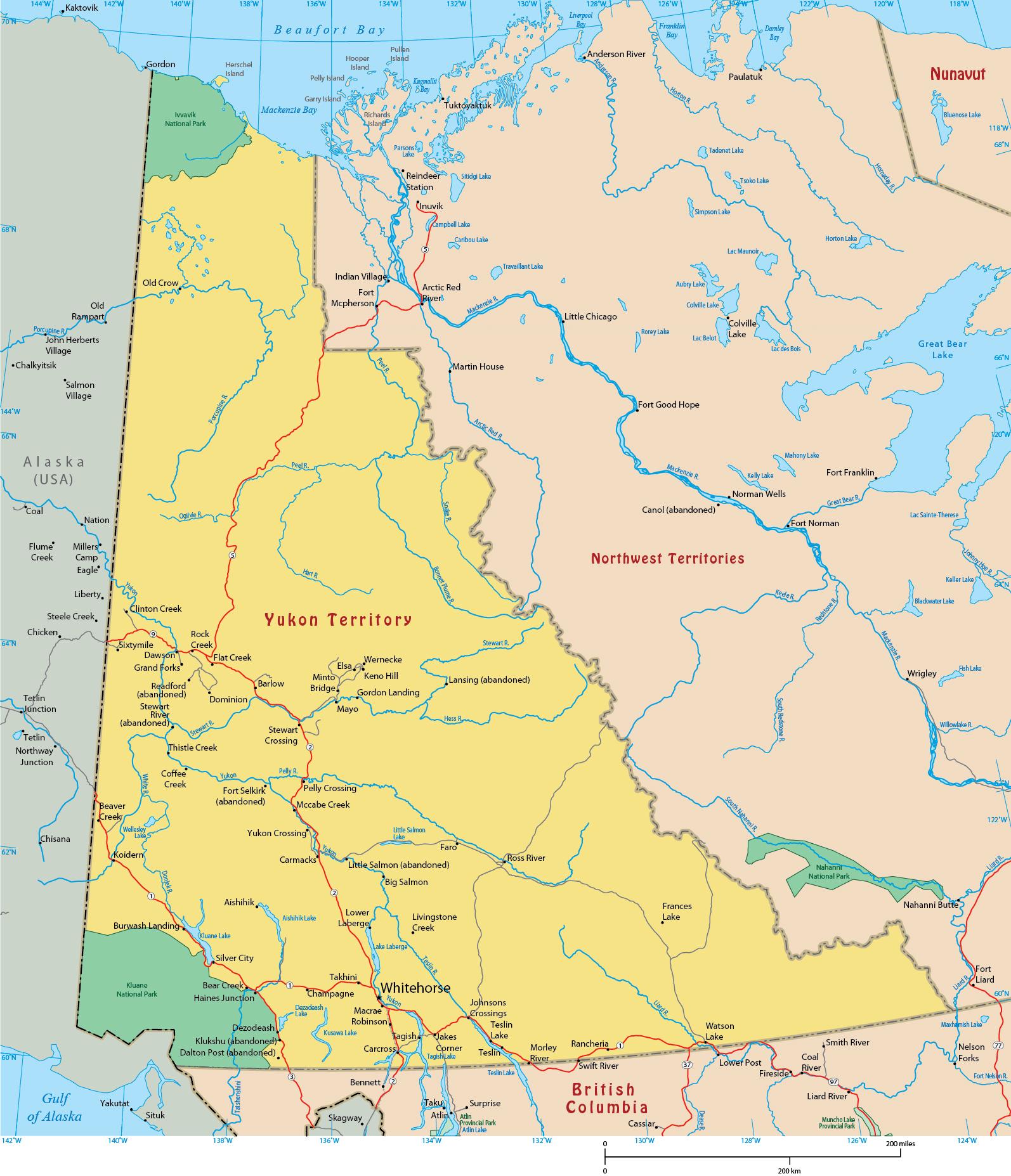 Map Of Canada Yukon River.Map Of Yukon Canada