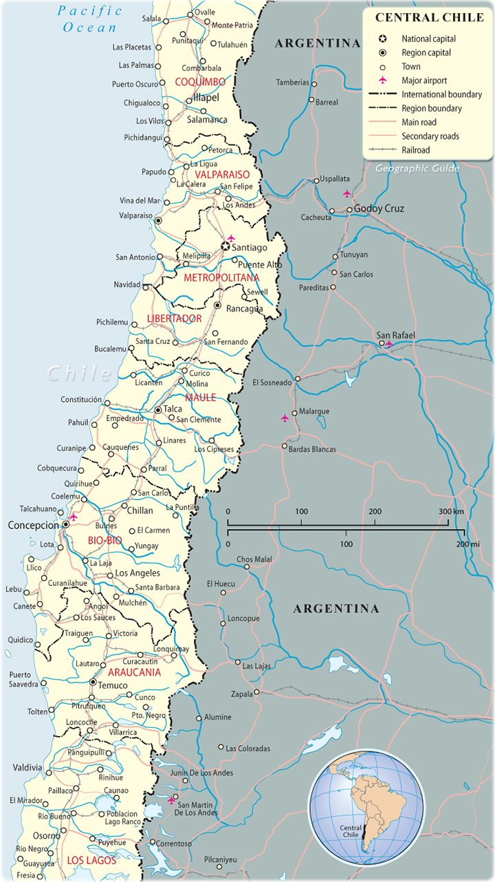 Map of Central Chile Santiago