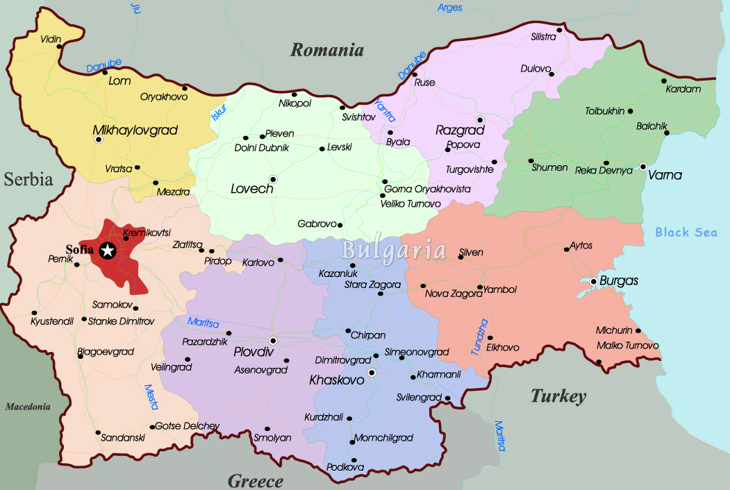 sofia on map of europe Bulgaria Map   Europe