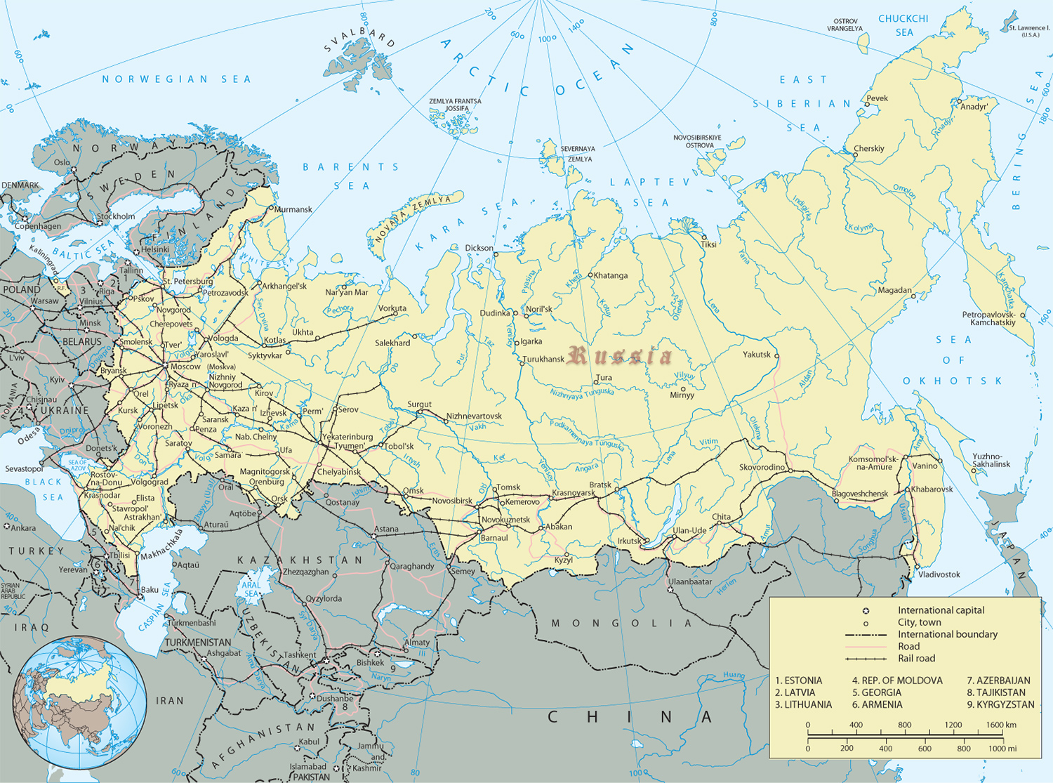 Russia Map - Russian Federation, Europe