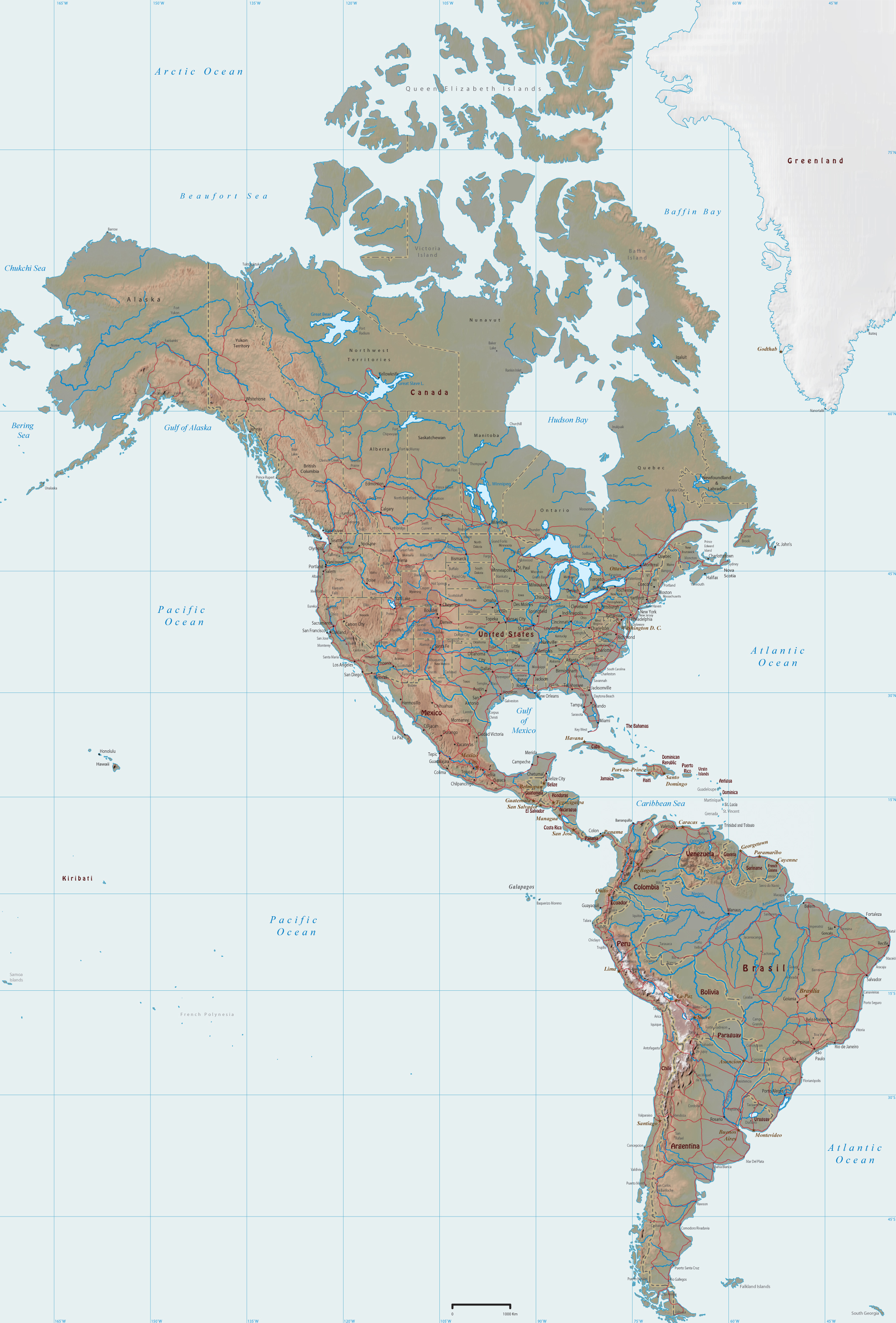 America   Physical Map of the Continent