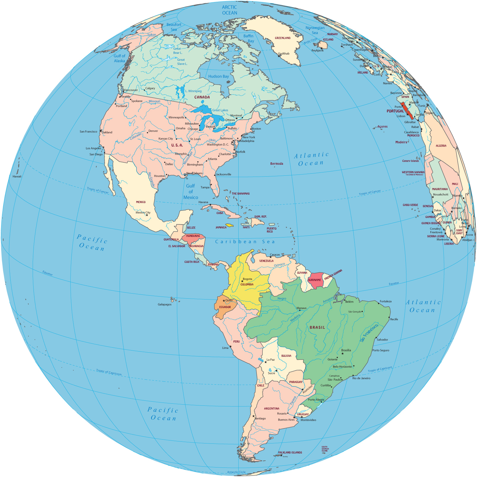 Americas political map globe caribbean sea north america political map countries of south america argentina and brasil gumiabroncs Image collections