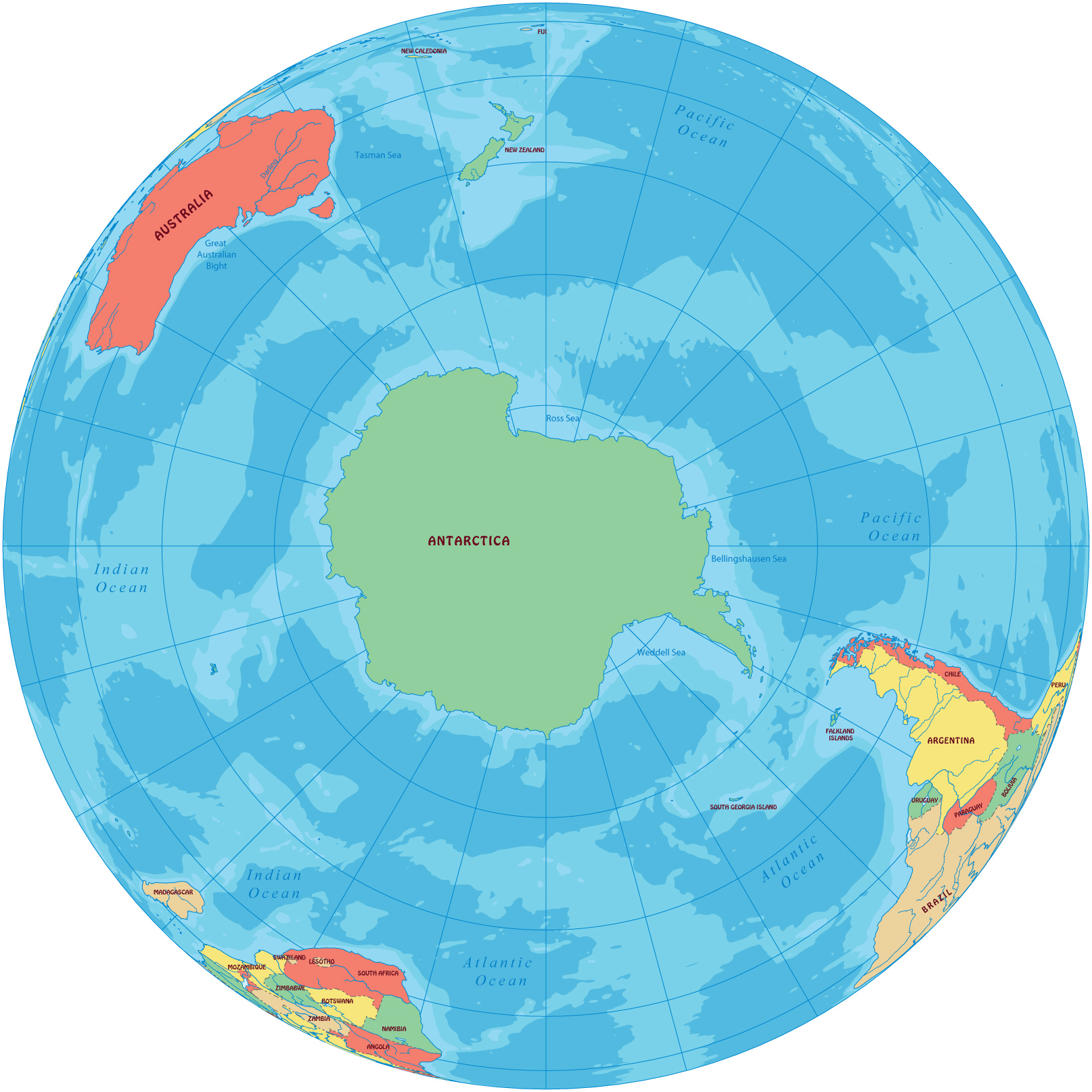 Antarctica Continent Map - Green and blue world map
