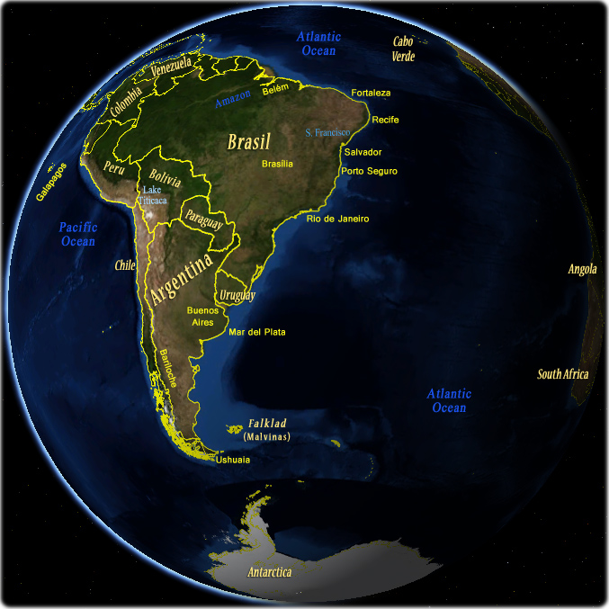 South America Globe - Argentina and Atlantic Ocean
