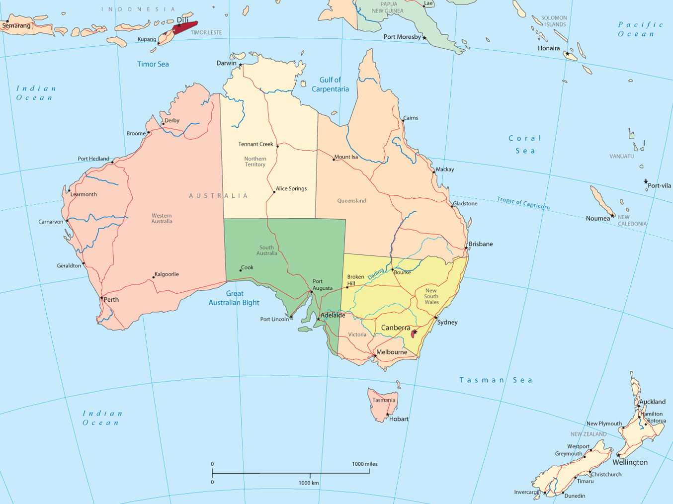 Australia and New Zealand - Political Map