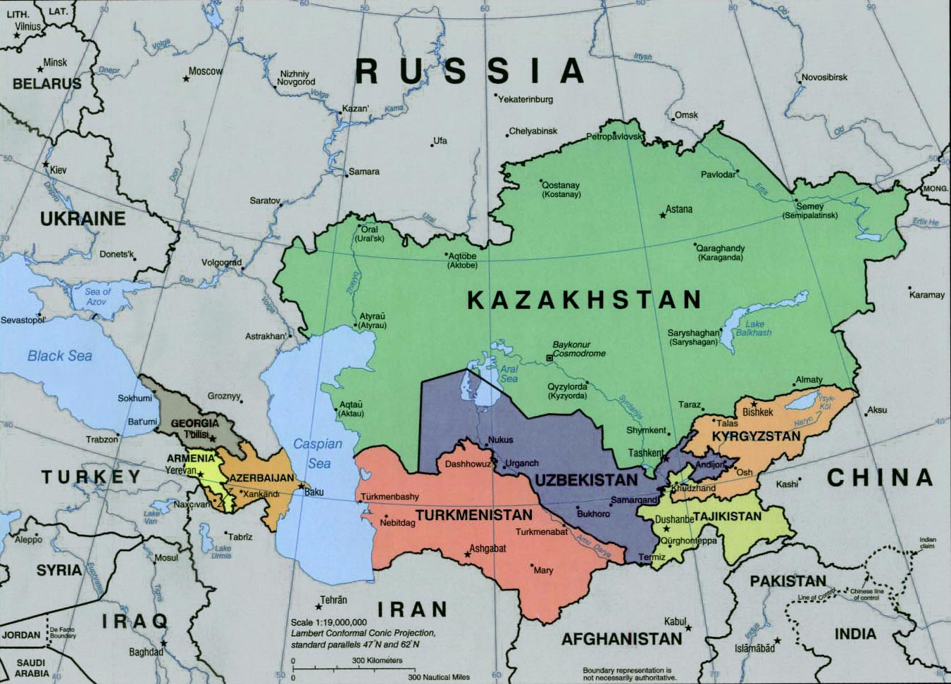 Central asia map caspian sea caucasus and central asia continents maps gumiabroncs Images