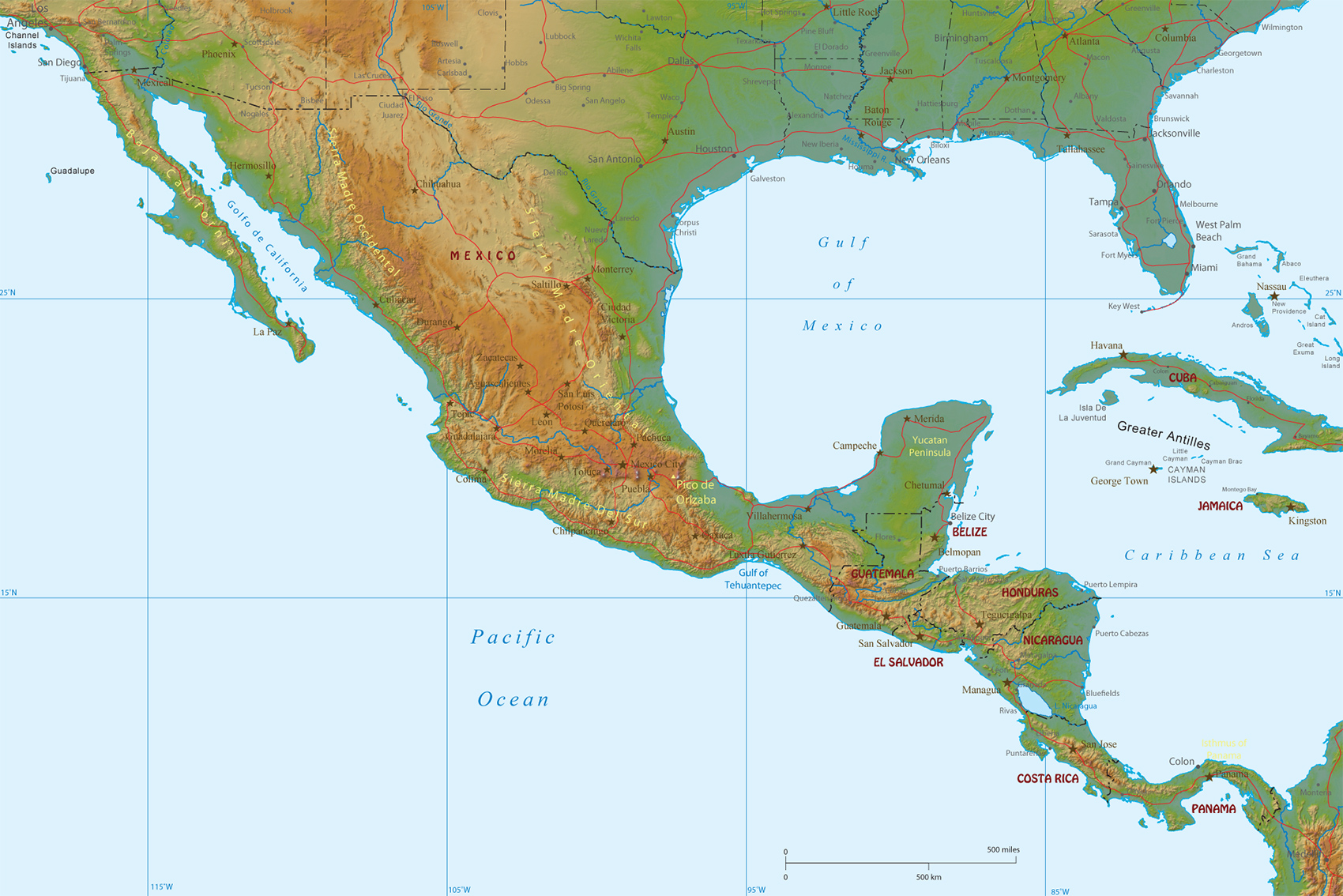 Physical Map Of Mexico And Central America - Sur america map