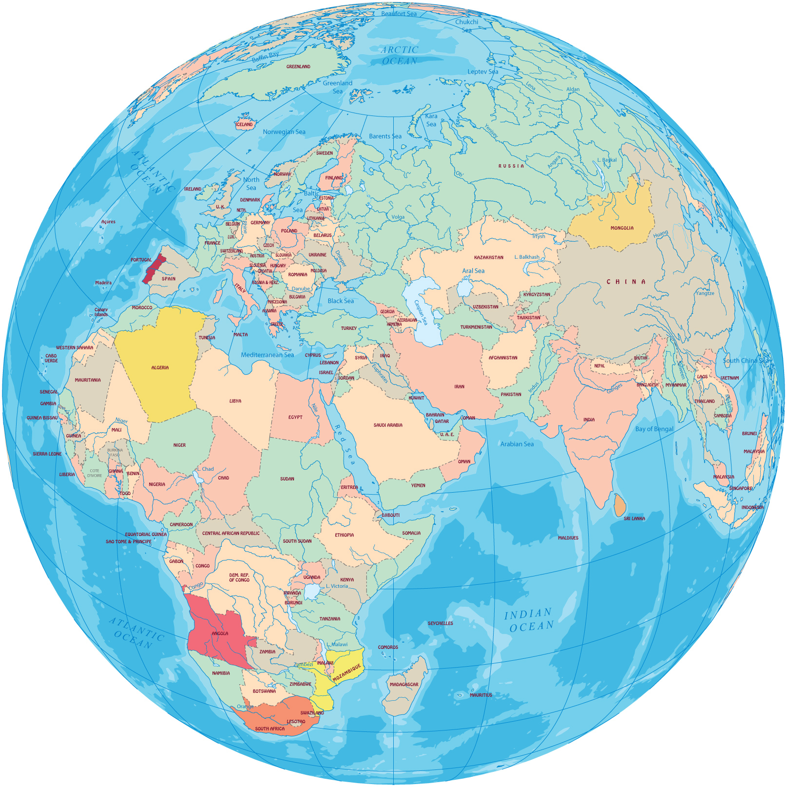 Continents of africa asia and europe globe political map old world gumiabroncs Choice Image