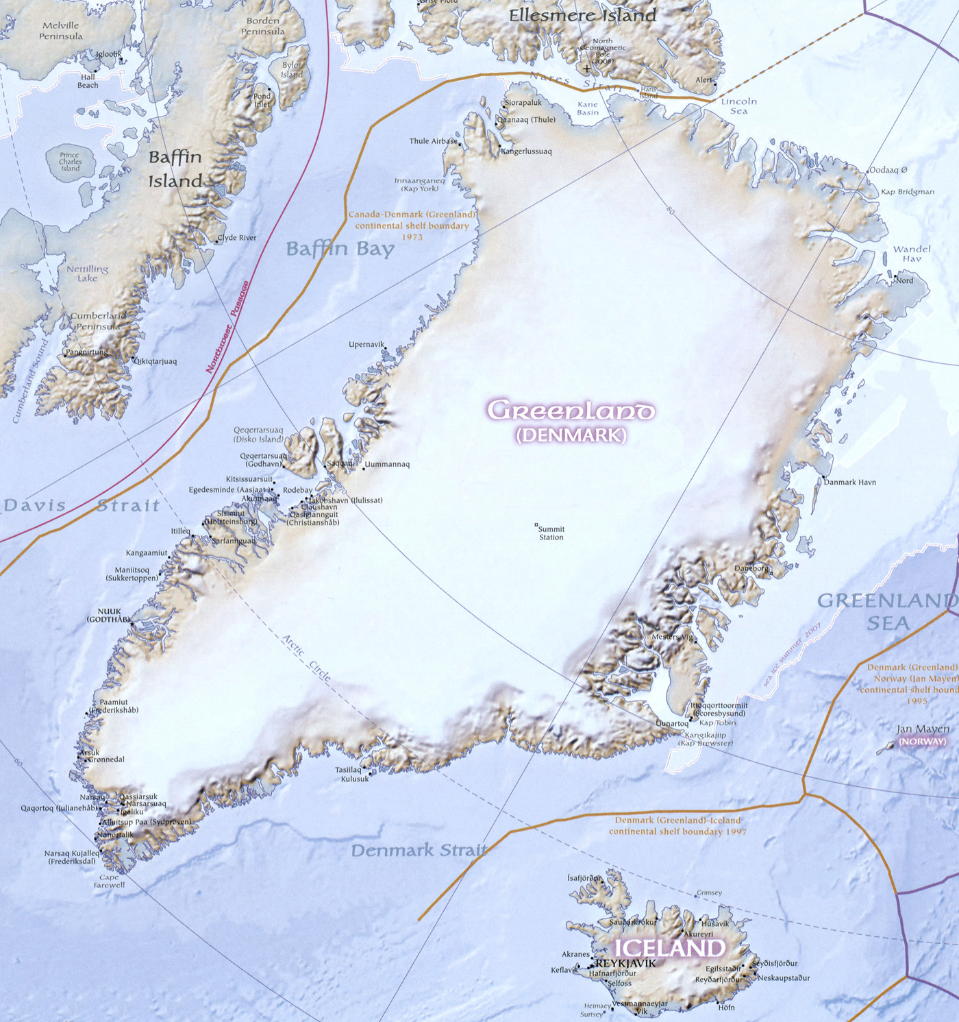 Physical Map of Greenland