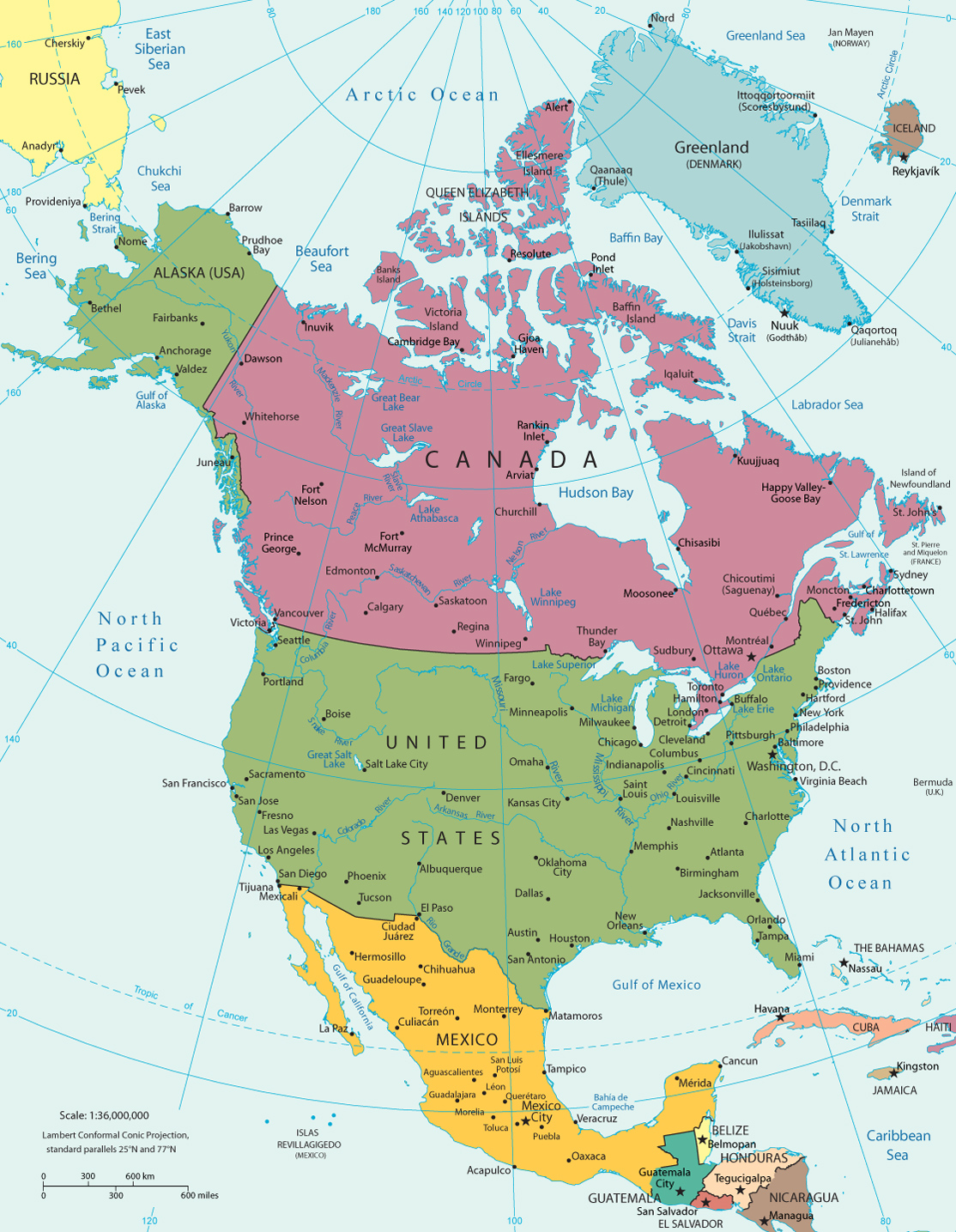America Continent Map – North America Travel Map