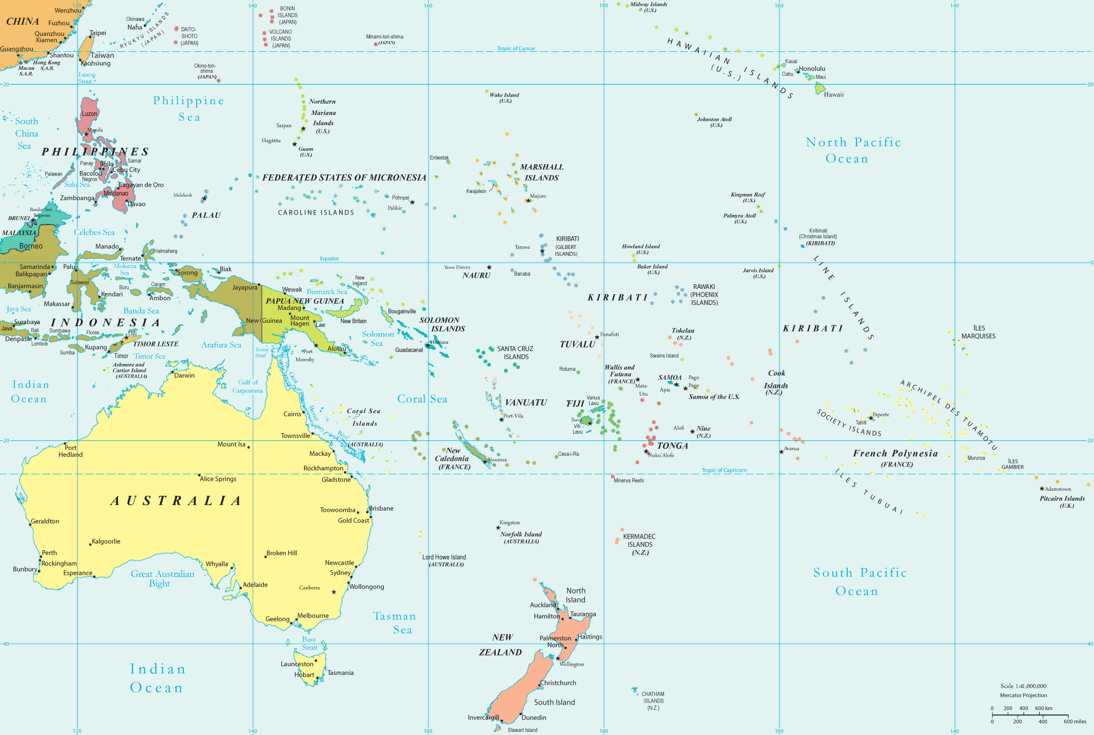South Pacific Political Map Political Map of Oceania   Pacific Islands