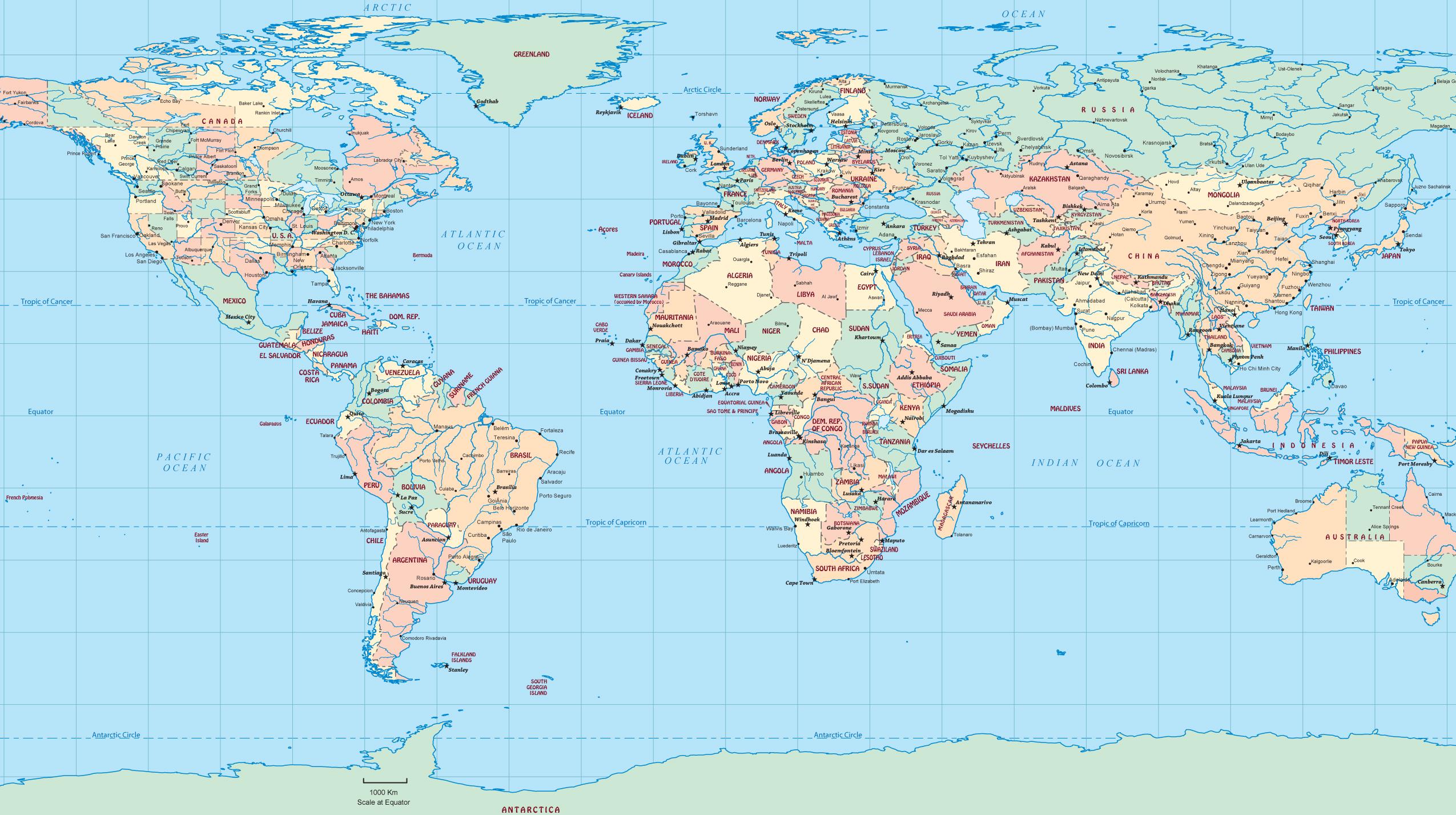 Plate Carree World Map
