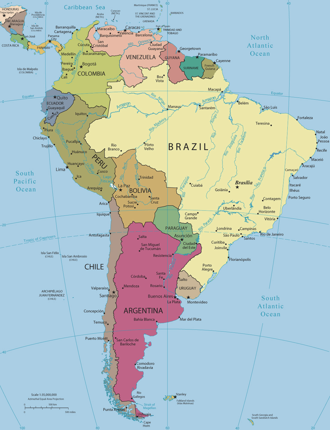 Map Of America Political.South America Political Map