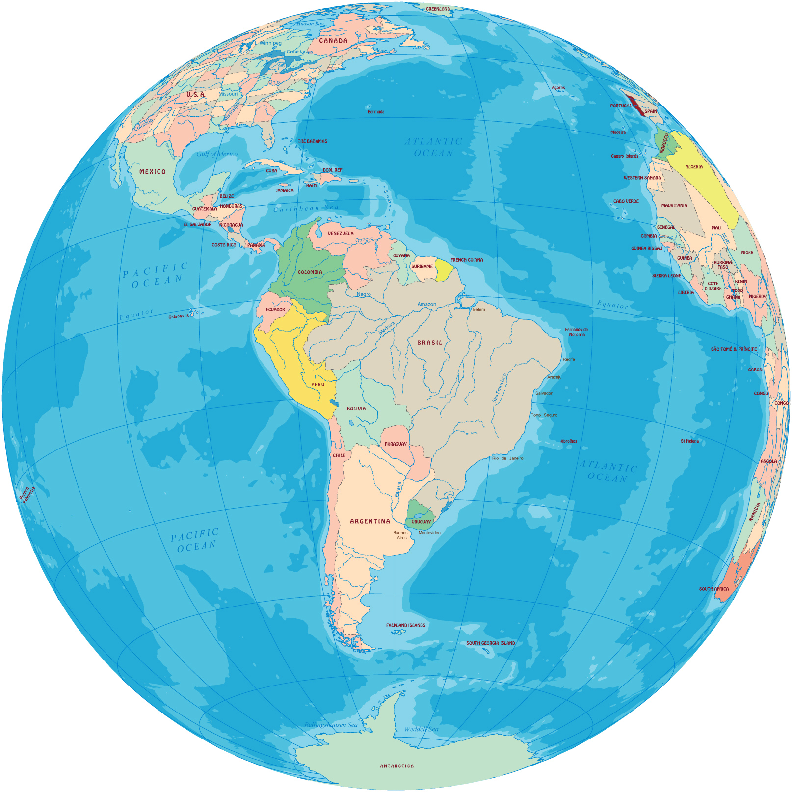 South america political map south america globe gumiabroncs Choice Image