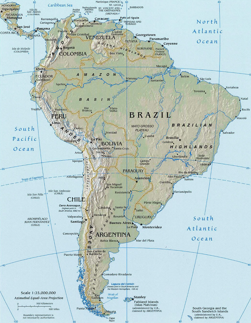 Copyright © Geographic Guide - South America Map. Atlantic Coast ...