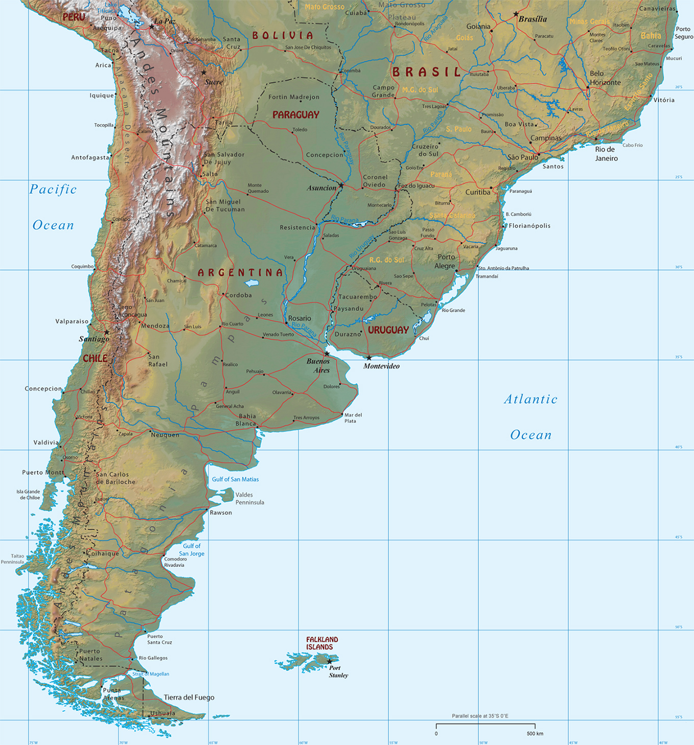 South Of South America - Physical map of argentina
