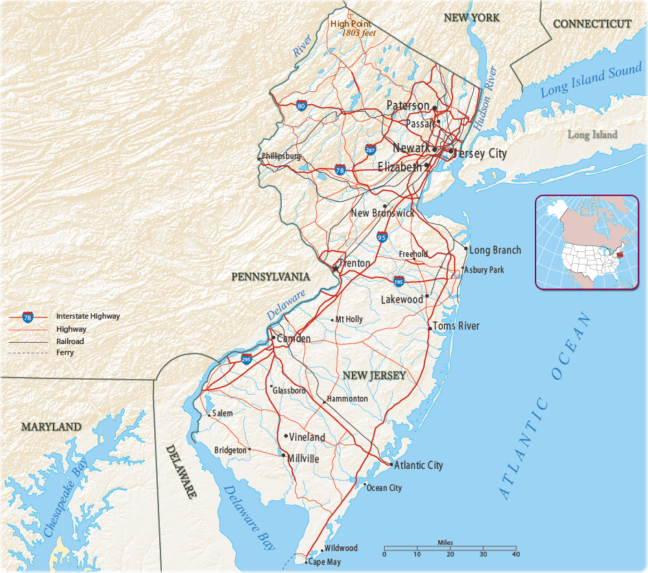 Map Of New York New Jersey And Connecticut.Map Of New Jersey State