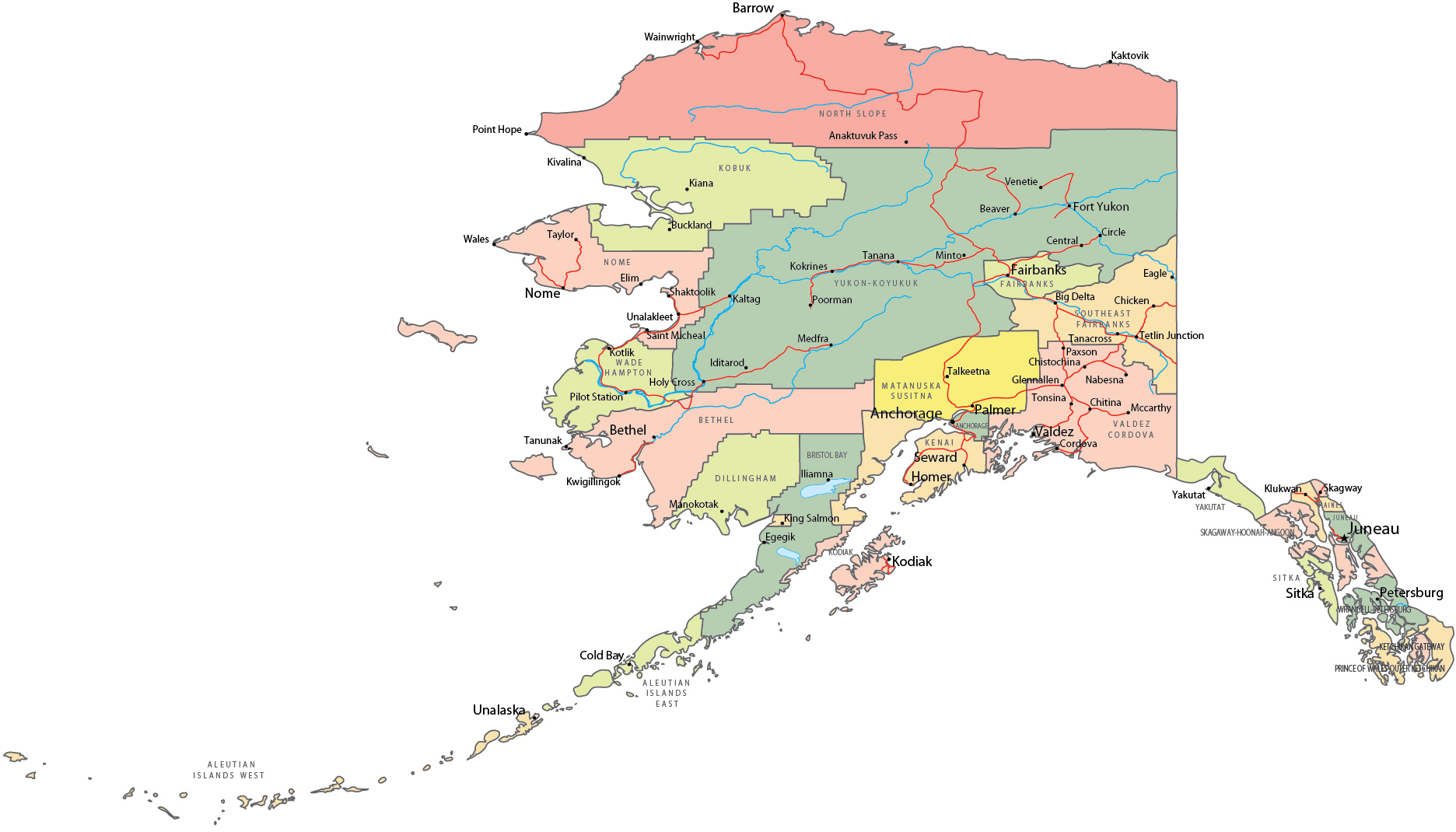 Political Map Of Alaska - Alaska maps