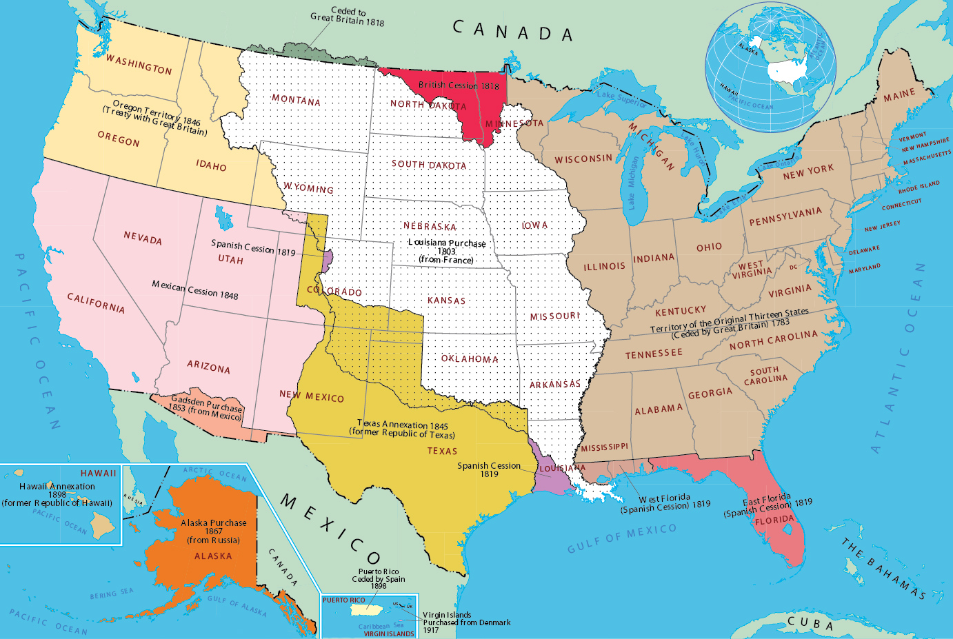 Historical Map Of United States - 1819 map of us